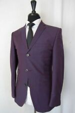 Moss London Mens Claret Wine Red Suit Trousers Slim Fit Half Lined Formal Pants