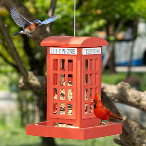 Hanging Wild Bird Feeders for Outside, Red British Phone Booth Bird Feeder for Y