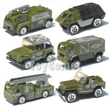 6 pcs Military Diecast Car Model Toy Army Fire Truck Jeep Armored Vehicle