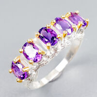 Fine Art Jewelry Natural Amethyst 925 Sterling Silver Ring Size 8.75/R122447
