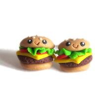 Food Funny Emoji Stud Earrings Jewelry Cheeseburger Hamburger Hot dog Party Fast