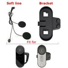 Motorbike Wireless BT Bluetooth Soft Wire Intercom Earphone Headset + Clip Mount