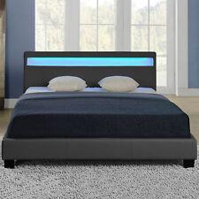 CORIUM® LED Polsterbett 180x200cm Dunkelgrau Kunst-Leder Bett Gestell Doppelbett