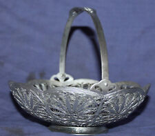 Vintage ornate floral metal filigree bowl basket