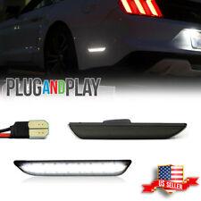 Black Lens White Led Rear Bumper Side Marker Lights For 2015 2021 Ford Mustang Fits Mustang