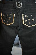 """SKINNY STRETCHY BLACK JEANS """"JOYX """" DECORATED CRYSTALS & GOLD 28/42 SIZE  S-M"""