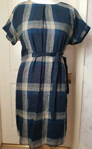 WHITE STUFF Size 10 Blue And Grey Mix Check Dress With Side Tie- Short Sleeved