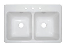 """NEW Mobile Home Parts 33"""" x 19"""" x 9"""" Deep Double Bowl White Kitchen Sink"""