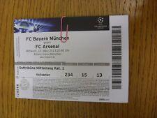13/03/2013 billet: Bavière Munich V Arsenal [Ligue des Champions] (Folded). Thanks F