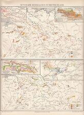 1899 Landkarte Nutzbare Mineralien in Deutschland * Original Druck Antique Print