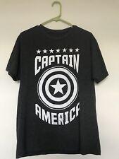 Marvel Grey Gray Captain America T-Shirt Men's M EUC Mens Size Medium Sz T Shirt