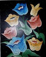 ORIGINAL VINTAGE FOLK HAITIAN ART OIL PAINTING JONAS LUNDY HAITI FLOWERS 08X10