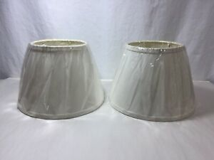 """2 New Ivory Off White Fabric Empire Lamp Shades 7"""" Tall"""