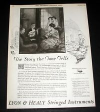 1921 OLD MAGAZINE PRINT AD, LYON & HEALY STRINGED INSTRUMENTS, THE TONE TELLS!