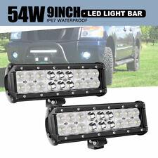 "2PCS DOT 9"" 54W LED light Bar Fog Driving Lights For ATV SUV 4WD Bumper WM"