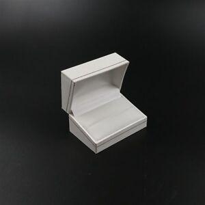 White Leatherette & Velvet Jewellery Double Ring Cufflinks Gift Ring Box
