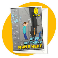 Diamond Digger PERSONALISED BIRTHDAY CARD - minecraft themed gamer personalized