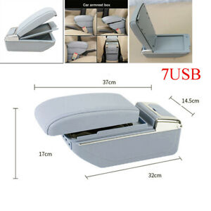 7USB Car PU leather Central Container Armrest Box Storage w/Light Rechargeable