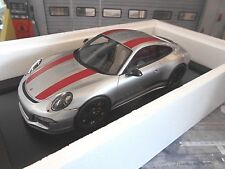 PORSCHE 911 991 R Lightweight grau grey silber + rot red 2017 Resin Spark 1:18