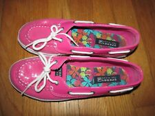 Women Sperry Top Sider Biscayne Hot Pink Sequin Boat Shoes SZ 5 M Fit Like 7 EUC
