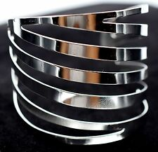 Wide Sparkling Striped Cuff Bracelet Silver Tone Fashion Jewelry Women Gift BD10