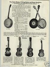 1938 PAPER AD Kay Tenor Banjo Amplifying Ukulele Deluxe Grand Guitars Guitar