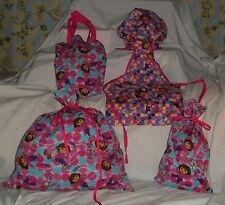 Dora Apron, or Chef Hat or Tote Bag or Gift Bag Homemade