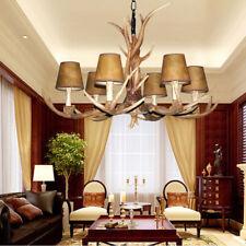 6 Head Deer Antler Horn European Style Retro Resin Brown Candle Chandelier Lamp