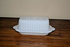 VINTAGE MILK GLASS BUTTER DISH HAZEL ATLAS