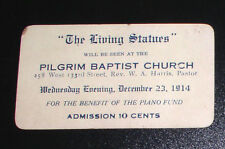 "1914 Pilgrim Baptist Church of Harlem Ticket for ""The Living Statues"" Benefit"