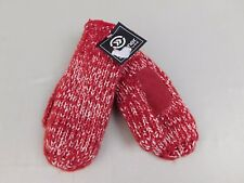 Isotoner Suede Palm Yarn Stripe Knit Sherpa Lined Mittens One Size Red #6021