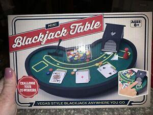 Mini Blackjack Table Vegas Style Felt Cards Poker Chips - New in Box, Free Ship