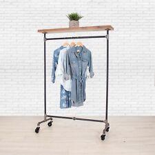 Industrial Pipe Clothing Rack with Cedar Wood Top Shelf William Robert's Vintage