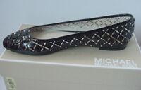 NIB Michael Kors Gabriella Ballet Flats MK Logo Black Leather Womens Sz 6-8 $150