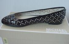 Michael Kors Women's Gabriella Ballet Flat Black MK Logo Leather Sz 7 - 8 NIB
