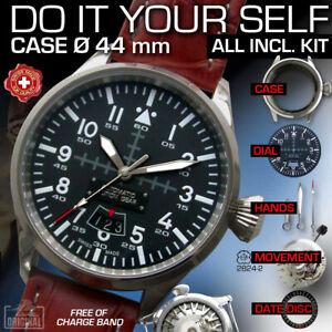DO IT YOURSELF KIT: PILOT CASE 44MM + DIAL, HANDS, AUTOMATIC MOVEMENT ETA2824-2