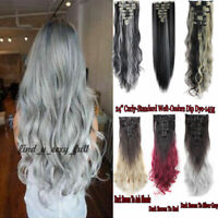 US Real Long 100% Natural Extensions Clip in HAIR EXTENTIONS Full Head Human #EG