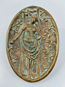 Antique Erotic Bronze Plate Art Nouveau Woman Apple Picking DRESS Lifted Bottom