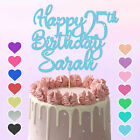 Personalised Cake Topper Custom Any Age Name Happy Birthday Party Glitter Gold