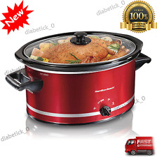 NEW Crockpot Hamilton Beach Slow Cooker Large 8 Quart Extra Red Oval Crock Pot
