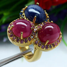 BIG! NATURAL RED RUBY & PINK WITH BLUE SAPPHIRE RING 925 STERLING SILVER