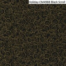 Holiday Gold Metallic scroll on Black cotton quilt fabric Timeless Treasures BTY