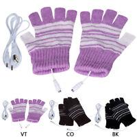 USB Heating Winter Hand Warm Gloves Heated Fingerless Warmer Mitten Gloves