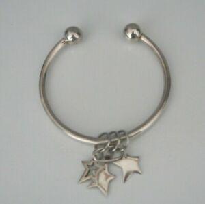 STERLING SILVER 925 Hallmarked STAR CHARM Torque Cuff Bangle