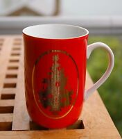 Red & Gold Tone Christmas Tree Otagiri Japan Gibson Greeting Holiday Coffee Mug