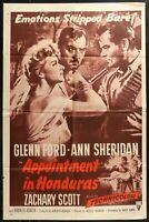 Appointment in Honduras Glenn Ford Vintage R1957 1 SHEET MOVIE POSTER 27 x 41 1u