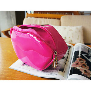 Travel Portable Kiss Cosmetic Bag Makeup Case Pouch Toiletry Wash Organizer PINK