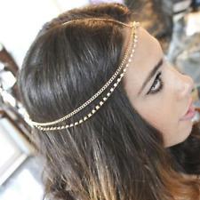 Festival Hippy Boho Indian Headpiece Hair chain Jewellery Clear Crystal Wedding