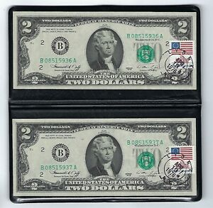 1976 Two $2 FRN SEQUENTIAL Serial No. Currency Two Dollars CU First Day Postmark