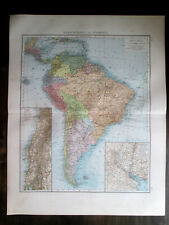 1898. Antique Big Size map. South America.